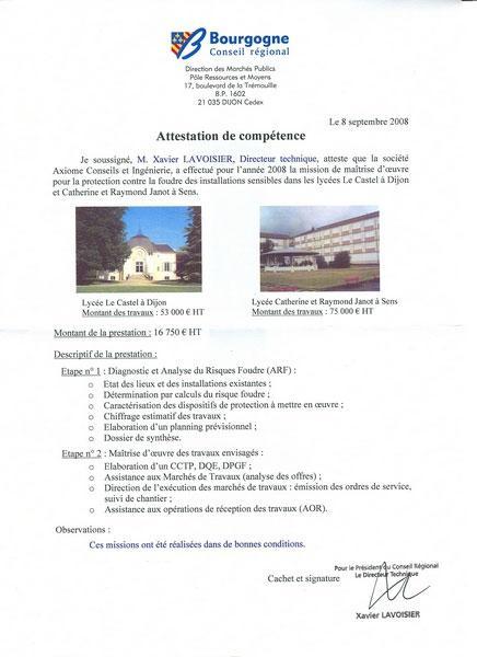 Conseil Régional de Bourgogne - Foudre au lycées de Dijon et de Sens